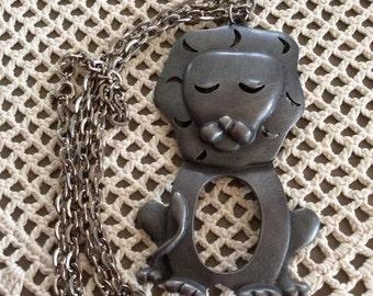Vintage 1970s Necklace Lion Pendant Chain Animal
