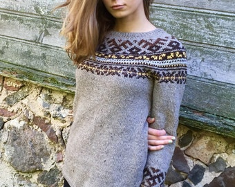 Fair Isle sweater Icelandic sweater Taupe sweater Women's sweater Norvegian sweater Made to order