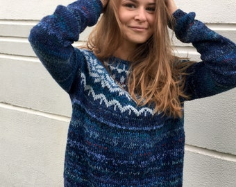 Cashmere sweater Blue sweater Fair Isle sweater Merino sweater Icelandic sweater Tweed sweater Women's sweater Made to order