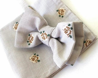 bow tie,mens bow,bow,handkerchief,smale beige-brown as set in a cottage style