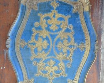 Vintage Florentine Blue & Gold Tray