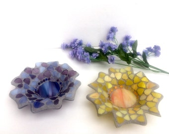 Flower dish, gift for woman, Valentine's Day, stained glass mosaic flower, candle holder, jewelry dish, votive, Valentine gift, wife, mom
