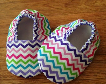 Baby Booties with Multi-Colored Chevron Print