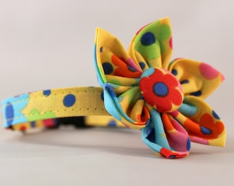 Cat Collar and Flower or Bow Tie - Tossed Flowers