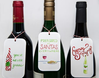 Christmas Wine Bottle Gift Tags - set of 6