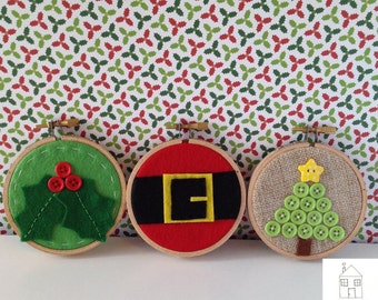 Christmas Ornament Tiny Embroidery Hoop