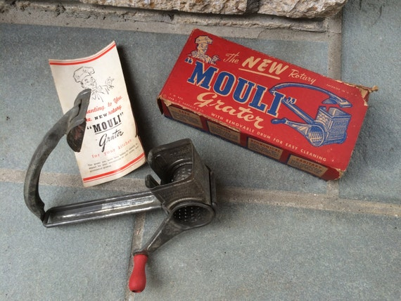 Vintage Crank Cheese Grater : Hand crank cheese grater mouli red wood handle kitchen utensil