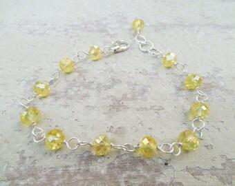 Canary Yellow Crystal Bracelet / Wire Wrapped Bracelet