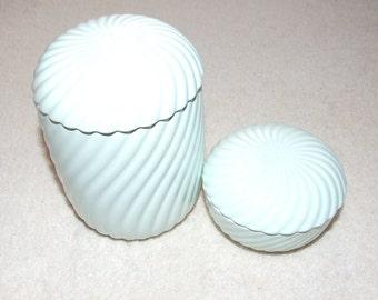 Two Vintage 1980s St Michael (Marks & Spencer) Mint Green Porcelain Pot Jars