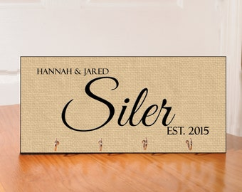 Personalized Key Holder - with 4 hooks - burlap theme