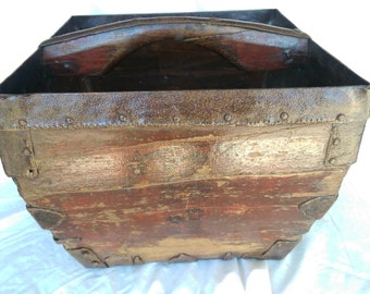 Antique Vintage Box - Wood Gothic Basket With Wood Handle