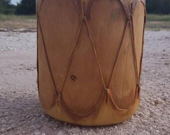 """Vintage Native American Indian Leather Hide Wood Drum 11"""" X 9"""""""