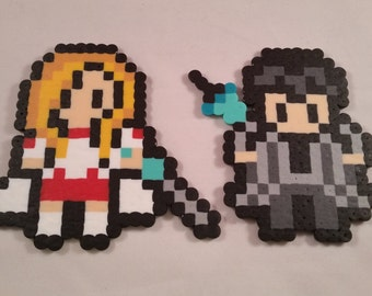 Original Design Sword Art Online SAO Asuna and Kirito perler bead art with optional magnet or keychain