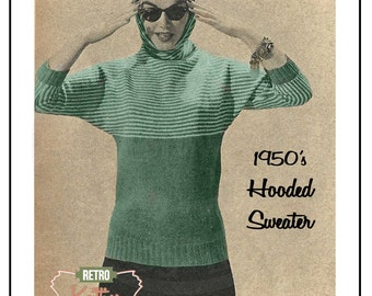 1950's Hooded Sweater Knitting Pattern  - PDF Instant Download