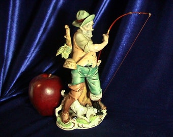 Rare Mid Century Lipper and Mann Figurine, Old Fisherman and His Dog, Free Shipping (187)