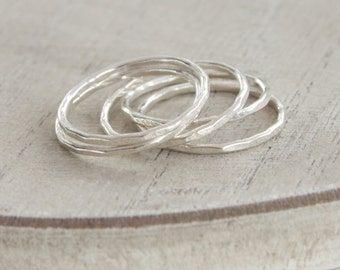 faith - sterling silver hammered stacking rings