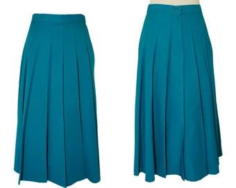 Cerulean blue skirt - Teal blue skirt - Vintage midi skirt - 70s vintage clothing - Small Skirt - High waisted skirt
