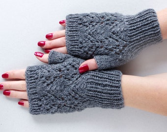 Lace fingerless Gloves, romantic knit big arm warmers, wrist warmers, fingerless mittens, wedding gloves, knitted armwarmers, hand warmers