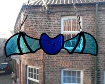 "Stained glass light blue bat suncatcher ""Luna"""