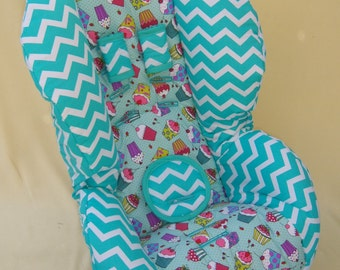 30% reduced Roundabout 55 Ready to ship **Padded**  Britax  Car Seat Cover Cupcake fabric