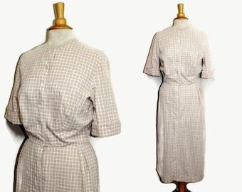 1950s Straight Dress / 50s Shirtwaist Dress Tall Fashions M Medium