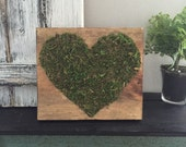 "Mossy heart -6"" wood plaque-"