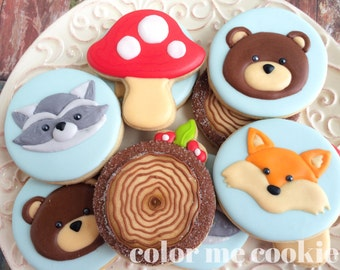 One dozen (12) Woodland Animal Theme Decorated Sugar Cookies