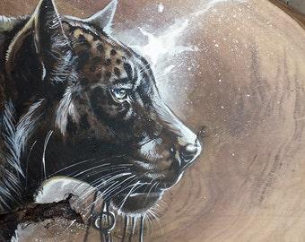 Tarnish - 14x13, Panther, Leopard, Jaguar, Keys, Silver, Black, Walnut, Wood