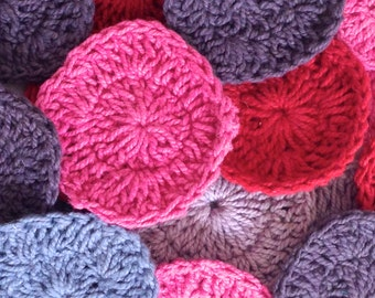 "20 Assorted Crochet Rounds for Craft, ""Red to Purple"""