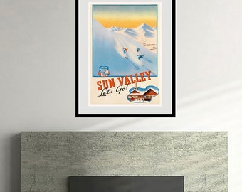 Reprint of a Vintage Travel Poster to Sun Valley Idaho