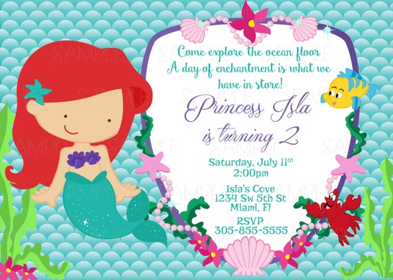 Printable Princess Ariel The Little Mermaid Birthday Party