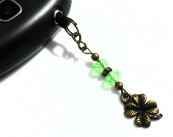 Clover Phone Charm, Four Leaf Clover Charm Cell Phone Accessories, St. Patrick's Day Dust Plug, Good Luck Clover Phone Jewelry, Green Beads