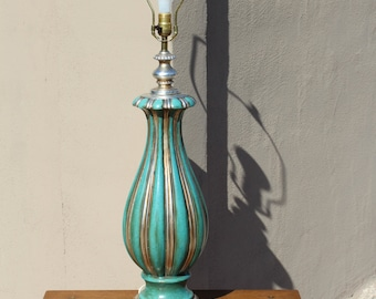 Large vintage mid century turquoise and silver table lamp