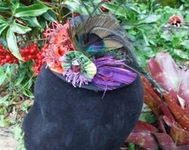 Mini halloween top hat with velvet flowers & hand dyed ribbon