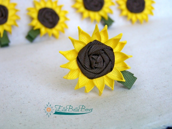 Sunflower Ribbon Sculpture Hair Clip, rolled center
