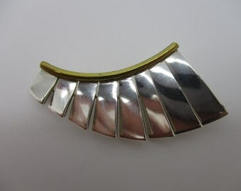 Sterling Silver and Brass Modernist Abstract Fan Brooch Made in Mexico