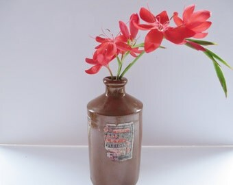 J. Bourne stoneware antique ink bottle , Stoneware pot, Rustic bottle,Antique stoneware,Stoneware ink bottle, Brown pot, Rustic vase