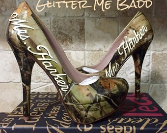 Real Tree Camo Heels with Wedding Name