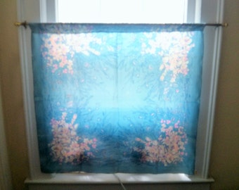 Altered Pure Silk Floral Chinese Scarf into Window Curtain