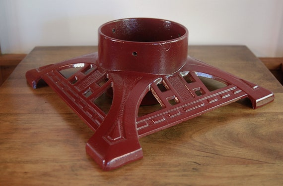 Cast iron christmas tree stand john wright cranberry red