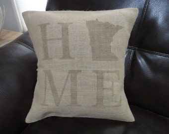 18x18 Home state burlap pillow case