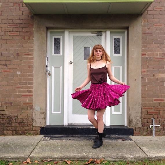 Short pink ikat dancing skirt handloom cotton.