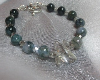 Green Moss Agate & Swarovski Crystal Bracelet with Sterling Silver Heart Toggle Clasp