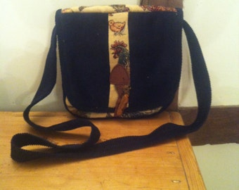 Recycled upholstery fabric shoulder bag