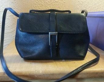 Vintage black leather purse, crossbody, satchel, handbag, clutch.