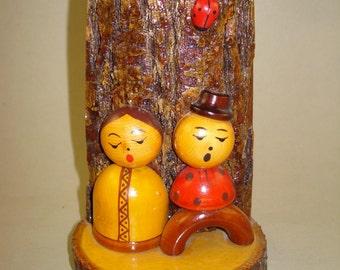 Vintage old Russian Soviet wooden handmade dolls - singers -  souvenir * USSR