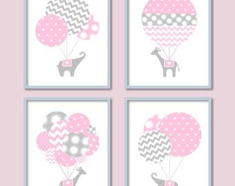 Baby Girl Nursery, Elephant, Giraffe, Baby Wall Art, Hot Air Balloon Decor, Chevron, Balloon Nursery, Modern Nursery Art