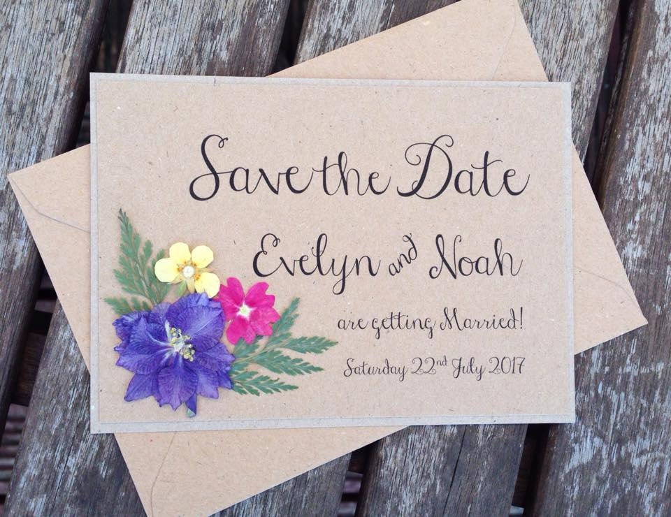 Floral save the date wedding invitation boho rustic invites for Wedding invitations with real flowers