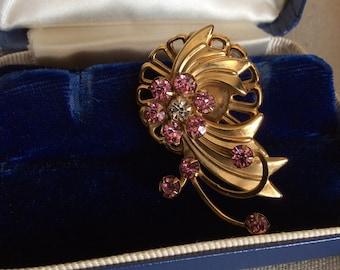 Vintage Art Deco Style Pink Floral Rhinestone Brooch-Estate Jewelry