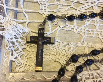 Rosary Vintage B.V.C. France Ebony with carved beads.